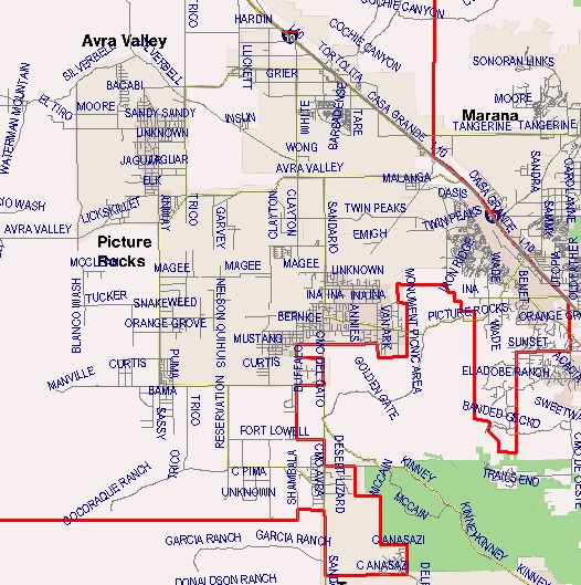 Marana Unified School District Boundary Map - West I 10